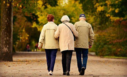 Três idosos caminham juntos